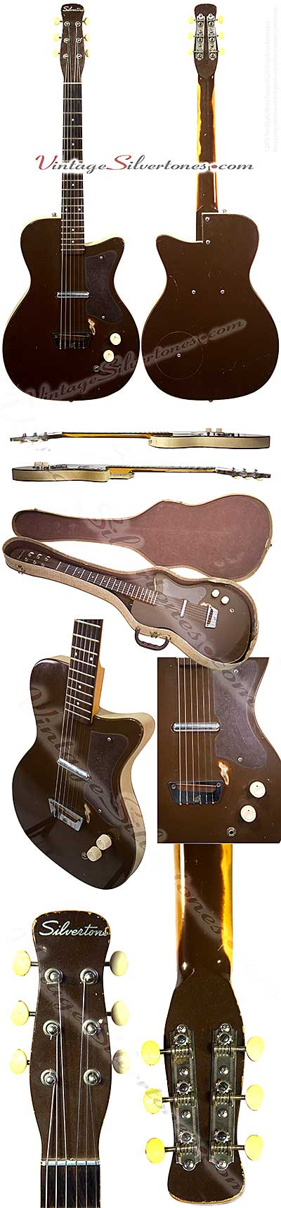 Silvertone 1452 made by Danelectro U1, one pickup, electric guitar, semi-hollow body, brown body with white tolex binding, masonite body, lipstick pickup, made in 1959