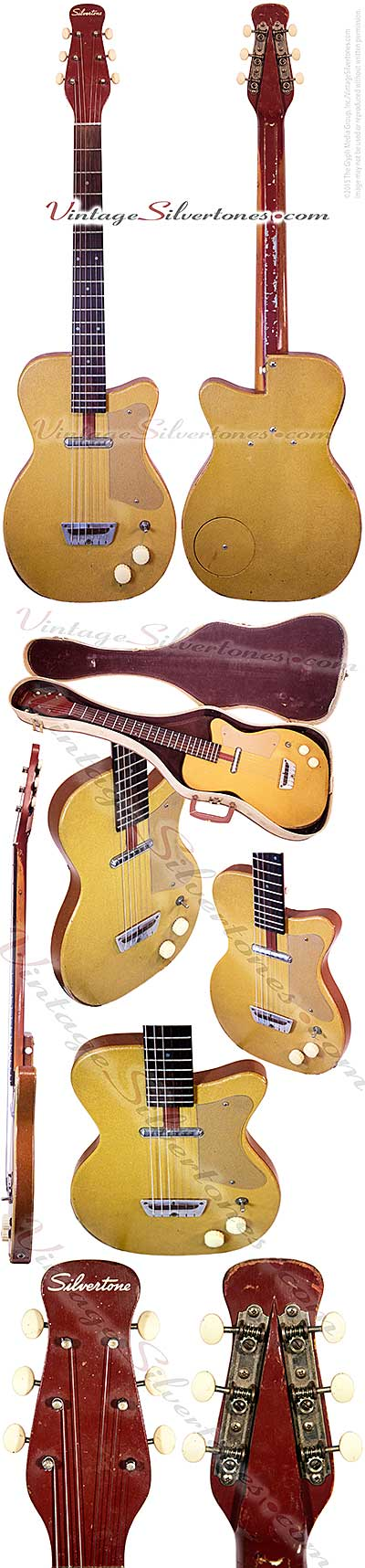 Silvertone 1357 made by Danelectro U1, one pickup, electric guitar, semi-hollow body,ginger vinyl finish tan vinyl binding, masonite body, lipstick pickup, rare, made in 1955