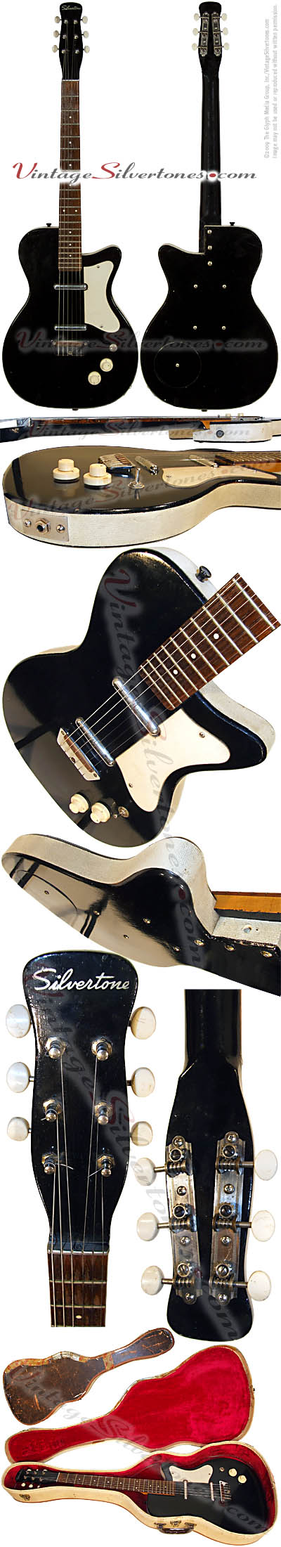 Silvertone 1303 made by Danelectro U2, two pickup, electric guitar, semi-hollow body, black, masonite body, lipstick pickup, made in 1958