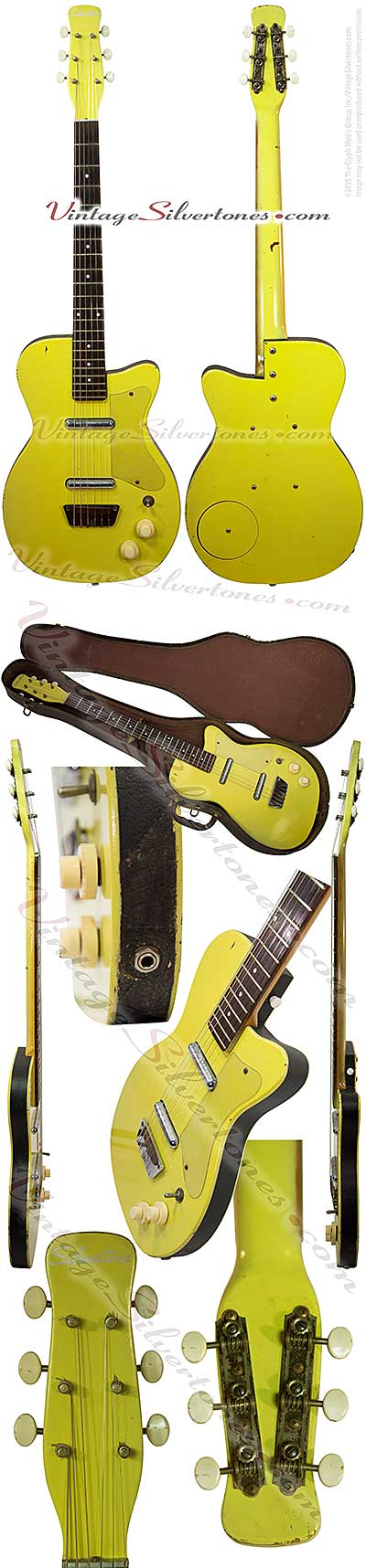 Silvertone 1360 made by Danelectro U2, two pickup, electric guitar, semi-hollow body, yellow body with black vinyl binding, masonite body, lipstick pickup, made in 1955