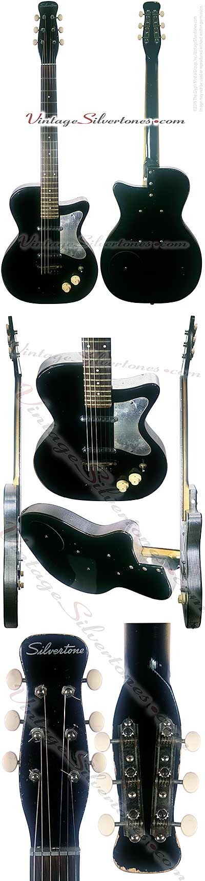 Silvertone 1319 made by Danelectro U2, two pickup, electric guitar, semi-hollow body, black body with silver vinyl binding, masonite body, lipstick pickup, made in 1955
