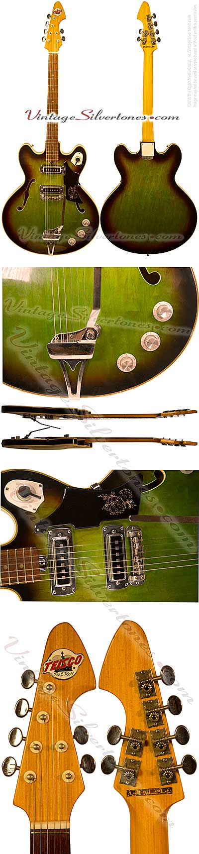 Teisco Del Rey EP-10T hollow body electric guitar 2 pickup, greenburst, double cutaway, made in Japan 1963